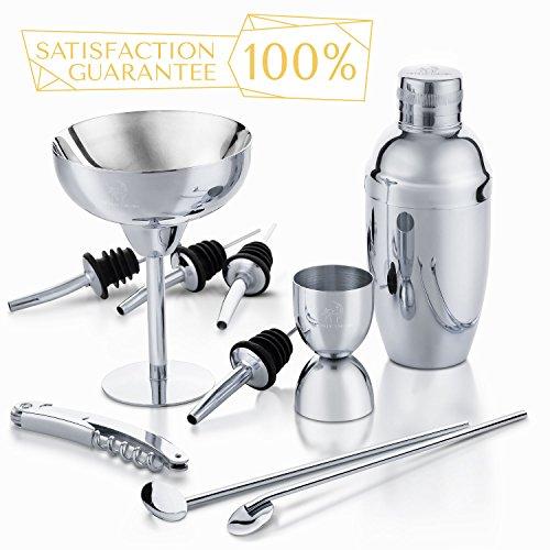 METALLIC UNICORN Cocktail Shaker Set Premium Home Bar Set 10 Piece- Stainless Steel Shaker Kit Great Gift Idea for Bartender Tool Kit, Bar tools