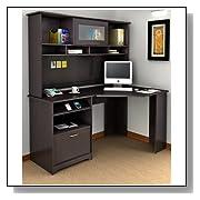 Corner Home Comuter Desk with Hutch