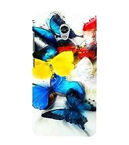 PrintVisa Colorful Butterfly Design 3D Hard Polycarbonate Designer Back Case Cover for Lenovo Vibe P1