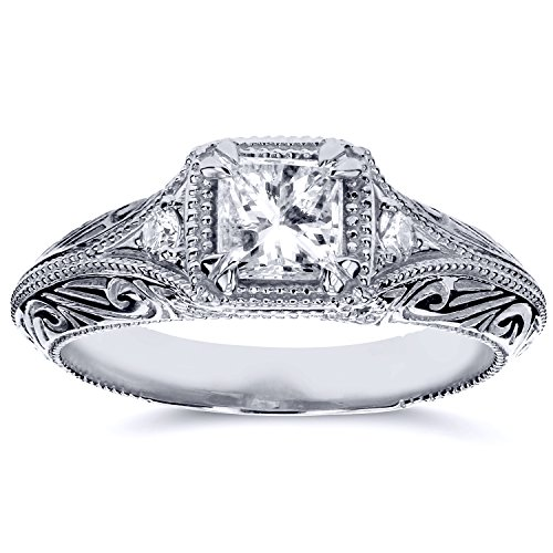 Diamond Antique Filigree Engagement Ring 5/8 CTW in 14k White Gold (Filigree Engagement Ring compare prices)