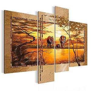 Bilder & Kunstdrucke Prestigeart, 0006461a Bild auf Leinwand XXL, Wandbild, Afrika sunset, 120 x 90 cm, 4 Teile