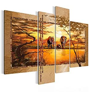 Bilder XXL 0006461a Bild auf Leinwand 120 x 90 cm XXL, Afrika sunset, 4 Teile Elefanten Savanne Wandbild