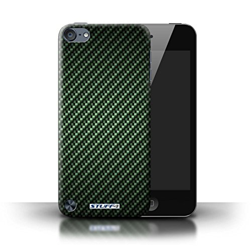 STUFF4 Phone Case / Cover for Apple iPod Touch 5 (5th Generation) / Green Design / Carbon Fibre Effect/Pattern Collection