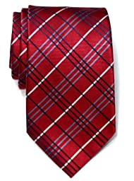 Retreez Tartan Check Styles Woven Microfiber Men\'s Tie Necktie - Burgundy