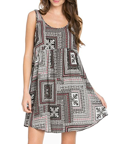 My Space clothing Women's Woven Rayon Babydoll Swing Dress-Made in USA (X-Large, Black)