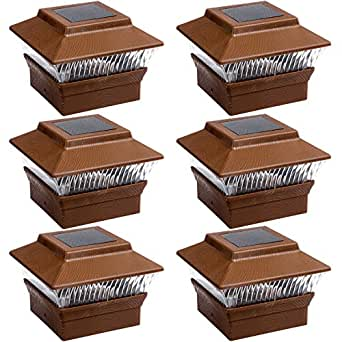 6 Pack Solar Powered Square Wood Grain 4x4 Pvc Led Fence