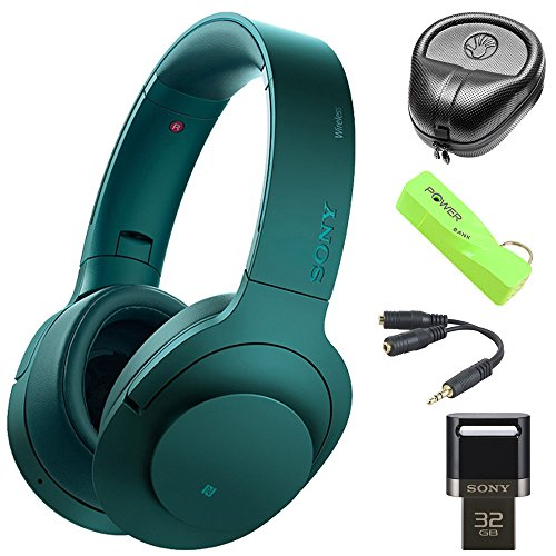 Sony MDR100 h.Ear on Wireless NC On-Ear Bluetooth Headphones w/ NFC - Viridian Blue (MDR100ABN/L) with HardBody Headphone Case, 2600mAh Keychain Power Bank, Splitter & 32GB Flash Drive