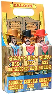 Whoop Ass Hot Sauce Gift Set - Its The Whoop Ass Saloon All 3 Whoop Ass Hot Sauce Cowboys Have Claimed Stake To The Local Towns Saloon And Theyre Packin Heat Watch Yourself Pardner All In An Easy To Carry Gift Set by Southwest Specialty Foods Inc.