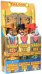 Whoop Ass Hot Sauce Gift Set - It's the Whoop Ass Saloon! All 3 Whoop Ass Hot Sauce Cowboys have claimed stake to the local towns saloon and they're packin' heat. Watch yourself, pardner. All in an easy to carry gift set.