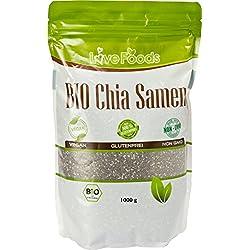 Chia Samen BIO - 1000 g - Chiasamen 1kg - DE-ÖKO-039 - Love Foods - Bonus: Inklusiv Rezepte-eBook