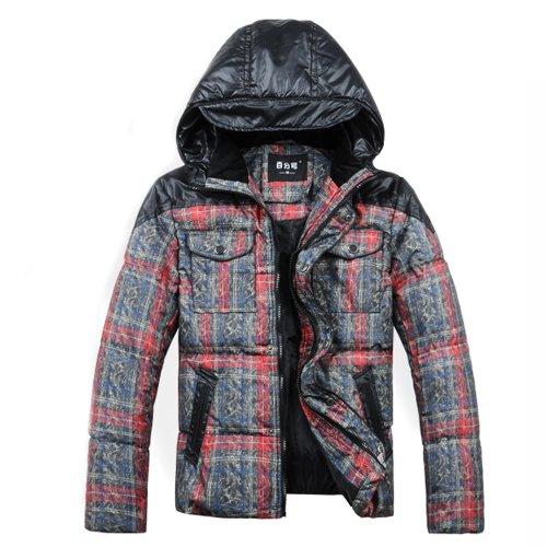 Hee Grand Men's Hooded-Short Cotton-Padded Coat L Red