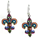 Firefly Fleur De Lis Mosaic Dangle Earrings with Multi-Color Crystals