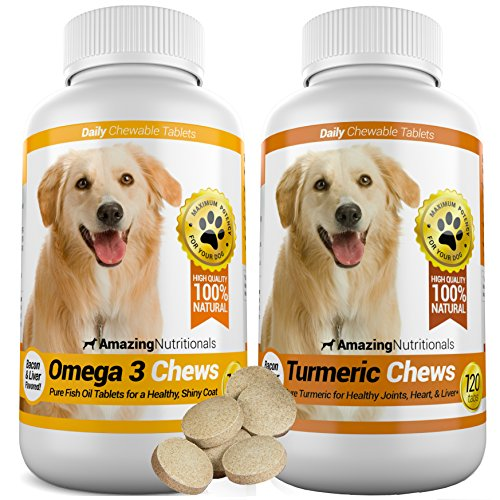 Amazing Combo Omega-3 Fish Oil and Turmeric Curcumin for Dogs - Pure All-Natural Pet Antioxidant - Promotes Shiny Coat, Brain Health, Eliminates Diarrhea Gas and Joint Pain, 120 Tasty Chews x 2 (Buffalo Blue Cheese Combos compare prices)