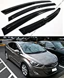 3D WAVY SHAPE MUGEN STYLE SMOKE TINTED WINDOW VISOR VENT SHADE FOR 2011-2015 HYUNDAI ELANTRA SEDAN