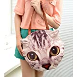 Creative cute bag new Shoulder handbag new cat real animal grey