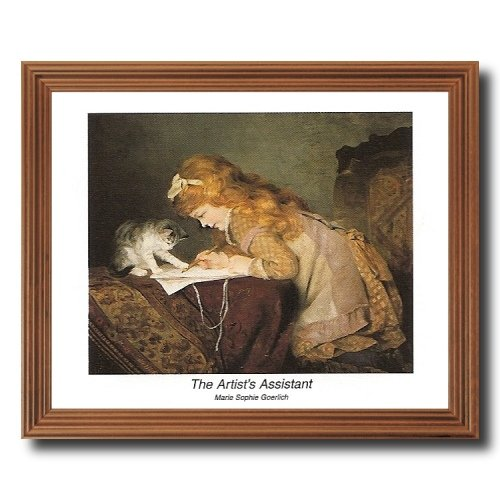 Victorian Little Girl Drawing On Bed With Her Cat Wall Picture Oak Framed Art Print