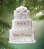 "Wedding cake ornament shimmers with fancy flowers and elegant swirls. Wedding ornament is a three-tiered confection. A sweet, ""forever treasure"". Resin. Wedding Christmas ornaments are 3 1/4"" wide x 4 1/2"" high."