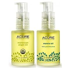 Acure 100% Organic Marula Oil and Argan Oil Bundle with Vitamin E Essential Fatty Acids, 1 fl. oz. each
