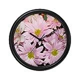 Lightweight Black Plastic Framed Fresh Pink Daisy Flowers Decorative Wall Clock 10