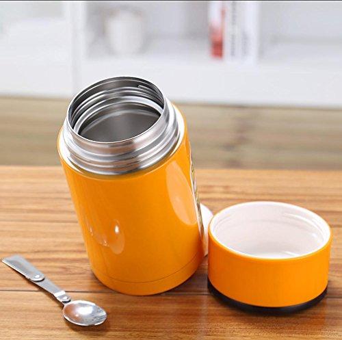 CKJJ In acciaio inox coibentato casella pranzo coibentato pot per uso domestico Becher stufatura stufato pentola di stufatura pentola studenti tanghu cooler outdoor campeggio . orange 1.0l