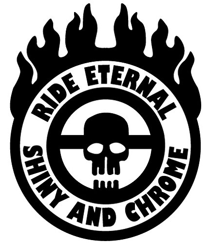Ride Eternal Shiny and Chrome Badge Mad Max Style Vinyl Jeep Truck Rig Decal Sticker Small or Large Sizes - Small - Black