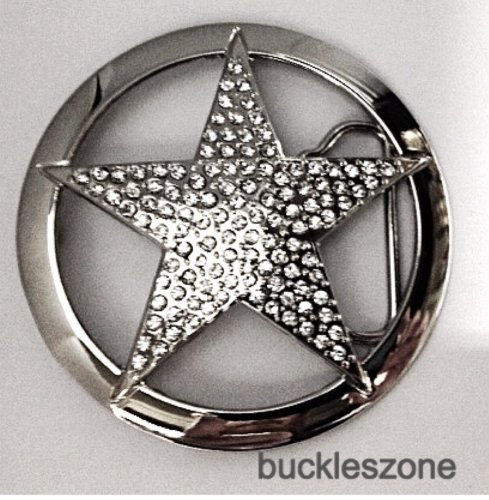 Texas Lone Star with White Stones in Silver Chrome Oval Finished Belt Buckle Western.