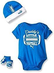 PUMA Baby 3 Piece Box Set Daddys Football, Sky Blue, Newborn