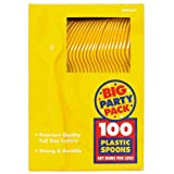 Amscan Big Party Pack 100 Count Mid Weight Plastic Spoons, Yellow