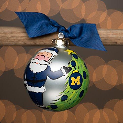 Glory Haus Michigan Santa Glass Ball Ornament