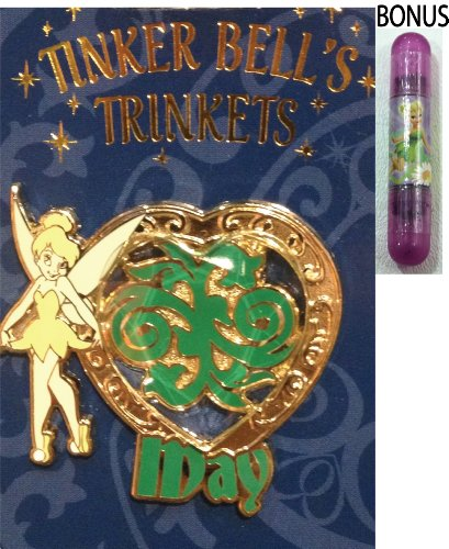 "Disney Parks Tinkerbell ""May"" Trinket Birthstone Trading Pin - Disney Parks Exclusive & Limited Availability + Bonus Tinkerbell Double-Sided Stamp Included"