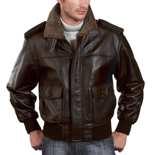 Landing Leathers Men's Cowhide Leather Flight Jacket - Brown Large