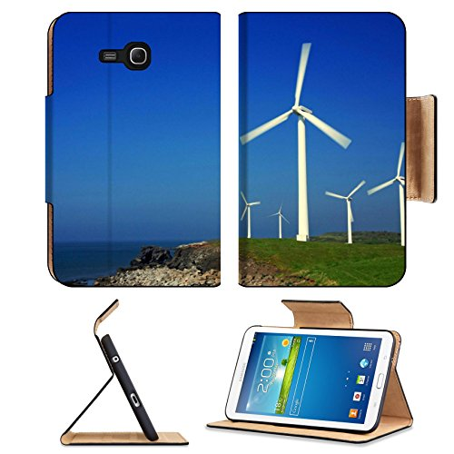 Ocean Windmills Generators Turbines Scenery Samsung Galaxy Tab 3 7.0 Lite Flip Case Stand Magnetic Cover Open Ports Customized Made To Order Support Ready Premium Deluxe Pu Leather 7 12/16 Inch (190Mm) X 5 5/8 Inch (117Mm) X 11/16 Inch (17Mm) Msd Galaxy T