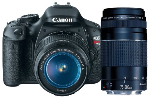 Best Deals! Canon EOS Rebel T3i 18 MP CMOS APS-C Sensor DIGIC 4 Image Processor Digital SLR Camera with EF-S 18-55mm f/3.5-5.6 IS Lens + Canon EF 75-300mm f/4-5.6 III Telephoto Zoom Lens