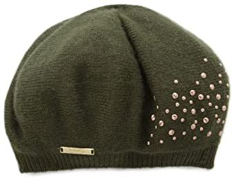 Laundry by Shelli Segal Women's Knit Beret Hat with Scattered Pearl Detail, Olive/Copper, One Size