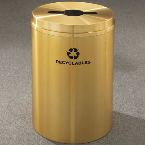 Glaro Recyclepro I Receptacle, 12 Gallon, 12 Inch W, 2.5 In X9.5 In Slot W/ 5.5' Dia. Center Hole, Paper - Plastic - Aluminum Messages W/ Recycling Logo, Hunter Green Finish, Satin Brass Top, Shown In Satin Brass