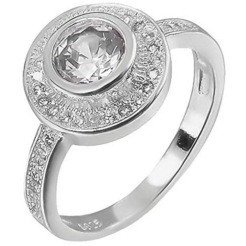 C-Princessリング 指輪 レディース ホワイトラインストーン付き メッキ キラキラ 輝き エレガント アクセサリー 飾り 上品 結婚式 (14)