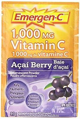 Emergen-C Acai Berry, 1000mg Vitamin C / Electrolytes / B Vitamins, 30 Packets/Sachets