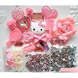 Mini kitty- DIY 3D pink Kitty Bling Cell Phone Case Resin Flat back Kawaii Cabochons Deco Kit / Set ,cellphone diy ,merry christmas gift ,xmas