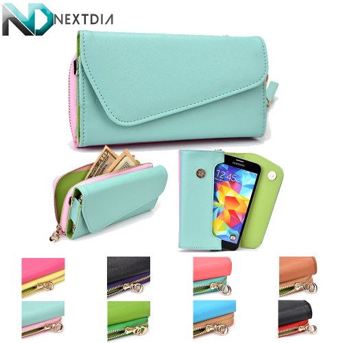 Lg Esteem Ms910 Bryce Womens Wristlet Clutch Case Semi-Gloss Iceberg Blue And Powder Pink With Matte Lime Green With Credit Card Holder & Nd Velcro Cable Organizer