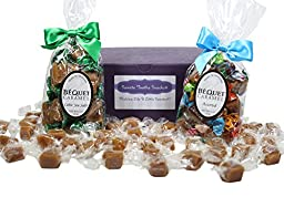 Bequet Gourmet Caramels Gift Box with 8 oz Celtic Sea Salt Caramels and 8 oz Assorted Caramels including: Butterscotch, Mocha, Green Apple, Chewy, Chipotle, Expresso, Salted Mocha, Salted Chocolate