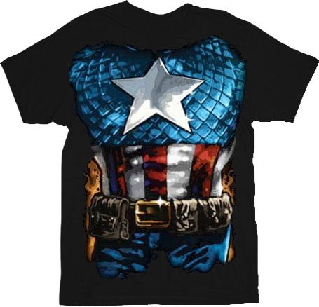 Captain America The American Way Costume Black Adult T-shirt Tee