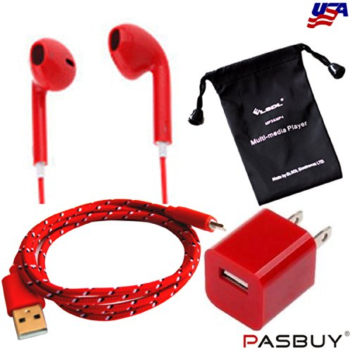 Pasbuy® 84I5/10Ft/Red 3 In 1 Wall Charger+8 Pin Braided Usb Data Sync Charging Cable+Headphone With Remote Mico For Iphone 5 5S 5C Ipad Mini+Free Mp3 Of Sling Bag