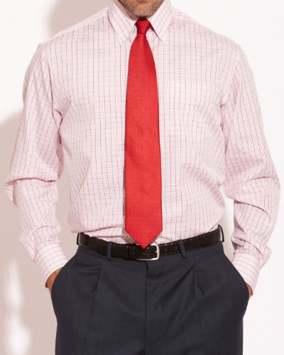 Savile Row Mens Red White Grid Check Button Down Classic Fit Formal Shirt Collar Size16.5