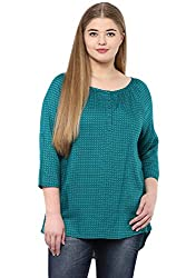 Alto Moda by Pantaloons Women's Tunic ( 205000005646600, Green, XX-Large)
