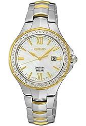 Seiko Diamonds Two Tone MOP Dial Women's Watch SUT240