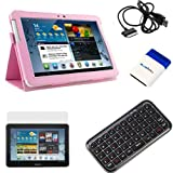 EveCase Pink Slimbook PU Leather Stand Case Cover plus Clear LCD Screen Protector, Mini Keyboard, USB Cable, Mini Brush for Samsung Galaxy Tab 2 Android TouchScreen Tablet (10.1inch, WiFi, P5100 / P5110)