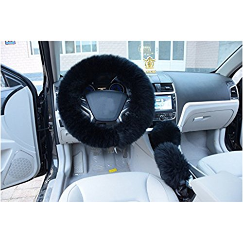 AUDEW Universal Steering Wheel Cover Black Plush Wool Soft Fluffy Steering Cover Guard Truck Car Accessory 1 Set 3 Pcs (Fluffy Wheel Cover compare prices)
