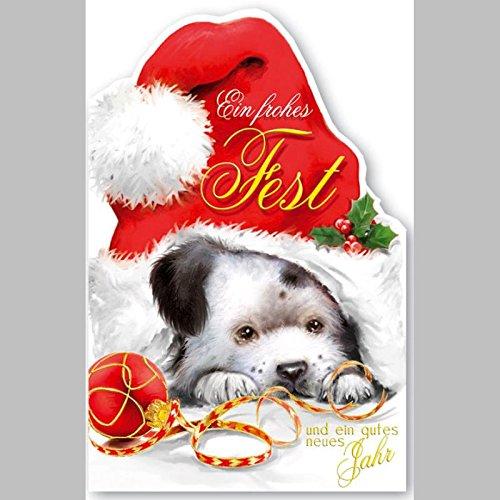 Hunde klappkarte f r weihnachtsw nsche set mit umschlag for Animierte weihnachtskarten kostenlos
