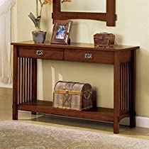 Big Sale Mission Style Charter Oak Finish Hallway Console Table