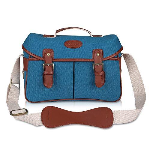 Kattee Vintage PU Leather/ Canvas DSLR Camera Shoulder Bag f